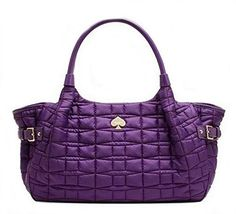 Kate Spade Quilted Nylon Signature Spade Stevie Satchel Bag, Purple *** Find out more about the great product at the image link.