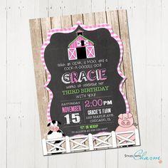 Farm Birthday Invitation Girl Farm Invitation by StyleswithCharm