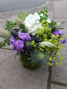 #Summer mix of lilac #Phlox, white #Hydrangea and #Veronica, blue #Thistles, and #Mint in a mossed tin. Thistles, Table Centers, Surrey, Corporate Events, Veronica, Hydrangea, Lilac, Tin, Seasons
