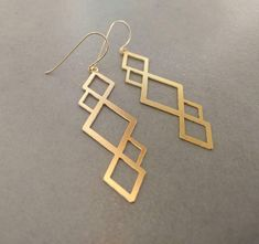 Geometric Earrings, Dangle Earrings, Gold Earrings, Square Earrings, Triangle Earrings, Gold Geometric, Mothers Day Gift, Gift For Her
