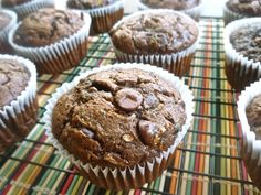 double chocolate zucchini muffins - great way to use that abundance of zucchini this time of year!