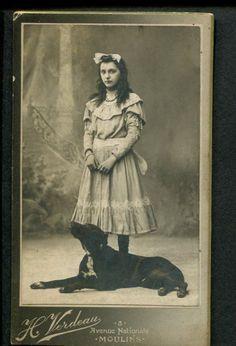 GIRL & Her DOG 1890s CDV