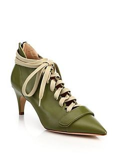 Derek Lam Montparnasse Leather Lace-Up Booties - Green - Size