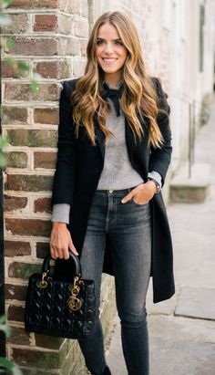 #winter #outfits / Black Coat // Grey Knit // Dark Skinny Jeans // Quilted Tote Bag