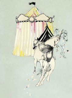 Kareena Zerefos Etsy Peachy Prints Watercolour Design Art Style Sketch Artist Illustration Decor Hot Air Balloon Animal Bear Cute pretty Daily Inspiration Blog pastel dream children Aqua Horses Circus Cirque Carnival Fairytale
