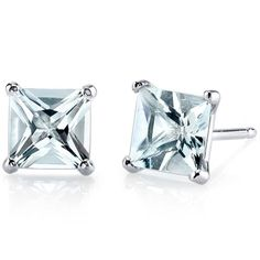 Oravo 14k White Gold Princess-cut Gemstone Stud Earrings (Aquamarine), Women's, Size: Small, Blue