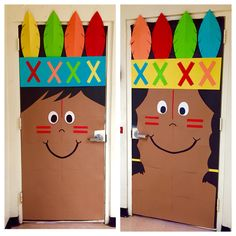 Thanksgiving classroom holiday Indian kindergarten door Holiday Bulletin Boards, Preschool Bulletin Boards, Classroom Crafts, Classroom Themes, Thanksgiving Classroom Door, Thanksgiving Door Decorations, Thanksgiving Preschool, Preschool Door Decorations, Kindergarten Door