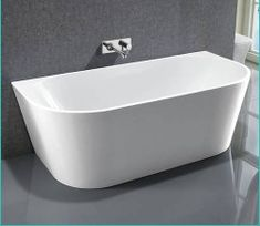 Riva White Round Back To Wall Freestanding bathtub 1700mm