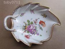 Porcelana De Meissen folha em forma & Tratado De Prato-Floral Sprays