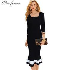Business Work Dress Elegant Mermaid Office 3/4 Sleeve Women Fashion Sheath Black Pencil Bodycon Female Formal Dress btyb233