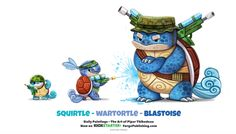 Daily Squirtle/ Wartortle / Blastoise by Cryptid-Creations on DeviantArt Cute Animal Drawings, Kawaii Drawings, Cute Drawings, Animal Puns, Cartoon Monsters, Kawaii Doodles, O Pokemon, Bulbasaur, Painted Books