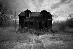 Eerie Infrared Black & White Photography - The Neighbors - burned house dark haunted 10x15 via Etsy
