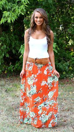 The Pink Lily Boutique - Orange Floral Belted Maxi Skirt, $15.00 (http://thepinklilyboutique.com/orange-floral-belted-maxi-skirt/)