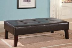 Dark Brown leather Ottoman with Wooden Legs by Coaster Furniture - http://www.furniturendecor.com/dark-brown-leather-ottoman-with-wooden-legs-by-coaster-furniture/