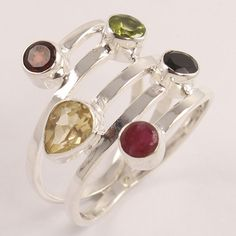 Antique Style Ring Size US 9.25 Natural CITRINE & OTHER Gems 925 Sterling Silver #Unbranded