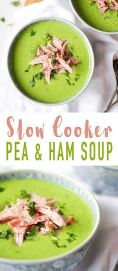 Slow Cooker Pea and Ham Soup - Made with a whole gammon joint cooked in the slow cooker, frozen fresh peas and mint for a delicious, light and healthy soup. This simple soup is so easy and warming. Add crusty bread for a really tasty meal. via @tamingtwins