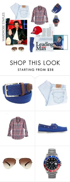 """""""Man's Man"""" by kgarcialove on Polyvore featuring Tyler & Tyler, Adam Levine, Levi's, Banana Republic, Timberland, Ray-Ban, Rolex, New Era, men's fashion and menswear"""