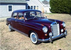 Mercedes Benz 220 S - my 1959 220S was originally red. I bought it out of a weed patch, cleaned it up, fixed the wiring, then painted it black, with a hint of purple (not as much purple as the car in this picture). Loved it, but it wasn't reliable enough for a commute car.
