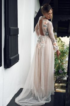 Illusion nude tulle long sleeve wedding dress with floral embroidery. Tulle Wedding, Dream Wedding Dresses, Boho Wedding, Wedding Bells, Wedding Engagement, Wedding Hair, Wedding Reception, Wedding Ideas, Grad Dresses