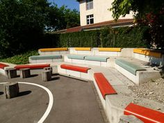 Outdoor Sectional, Sectional Sofa, Outdoor Furniture Sets, Outdoor Decor, Park, Design, Home Decor, Street Furniture, Benches