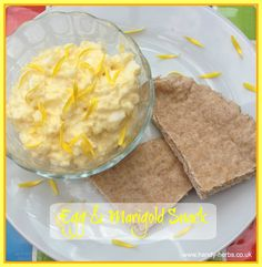Egg and Marigold Snack makes a colourful change from egg mayo. Marigold petals are edible and pretty.