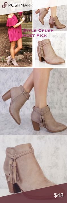 Hurry!!! Taupe Booties Braided Tassel 5⭐️ Reviews Limited quantities only One per Size Left! Beautiful boho taupe with braid tassel booties. Has zipper on the inside, vegan suede, new in box, available in Sizes 7, 7.5, 8, 8.5, 9, 10 or 11. No Trades. Price is firm unless bundled. 10% off 2 or more items or 20% 3 or more items. GlamVault Shoes Ankle Boots & Booties