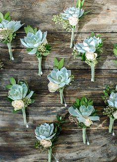 Mint Green Succulent Boutonnieres for the groom and groomsmen