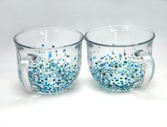 Oversized Blue Speckled Glass Mugs, handpainted, set of 2 ($25.00)   by JTurcotteDesigns on Etsy