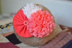 Red Cabbage and Fabric Flower Headband with Lace and Button Accents - Valentine's Day Headband -Handmade Hair Accessories