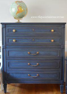 Coastal Blue dresser www.thepainteddrawer.com #shabbychicdressersblue