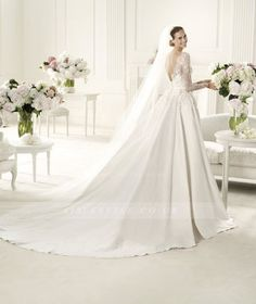 Exquisite A-line Bateau Long Sleeve Beading Lace Hand Made Flowers Sweep/Brush Train Satin Wedding Dresses