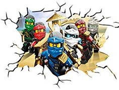 Ninjago Wall Crack Wall Smash Wall Sticker Self Adhesive Poster Wall Art Size wide x deep (large) by Chicbanners