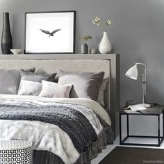 White and grey bedding ideas grey bedroom ideas cosy bedroom ideas for a restful retreat yellow . white and grey bedding ideas Dark Gray Bedroom, Grey Bedroom Design, Grey Bedroom With Pop Of Color, Grey Bedroom Decor, Grey Room, Trendy Bedroom, Bedroom Themes, Modern Bedroom, Bedroom Designs