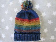 Knit Pride Hat  LGBT Rainbow  Blue Wool Tweed by SpacerobotStudio
