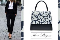 The black Mini Brigitte leather bag with prints is a good way to accessorize your office outfit @wi