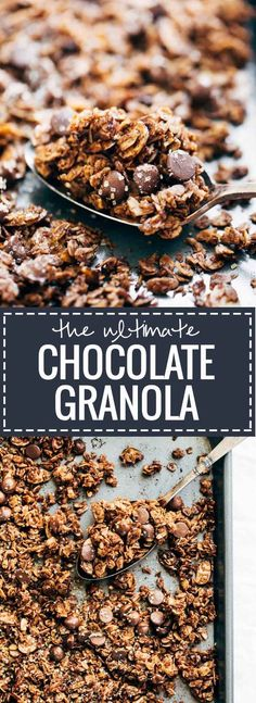 The Ultimate Chocolate Granola - made with simple, healthy ingredients and topped with crunchy turbinado sugar and sea salt with lots of big clusters. THE BEST easy breakfast for chocolate lovers.