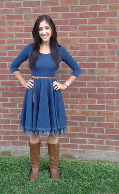 Fall Dress paired with a braided belt and flat boots... Cute & Comfy!  #matildajane #falldress #fallfashion #falloutfits