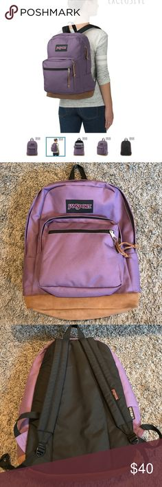 """Purple Frost Right Pack Backpack Jansport Like new. Signature suede leather bottom. Iconic Jansport backpack. Internal 15 inch laptop sleeve and front organizer pocket. 18"""" x 13"""" x 8.5"""". Awesome purple color that's only available online. Jansport Bags Backpacks"""