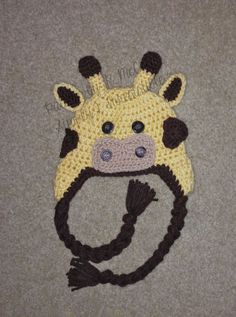 Giraffe Hat - Crochet Pattern 30 - us or uk Terms - Beanie and Earflap Pattern - Newborn to Adult - INSTANT DOWNLOAD 2.99