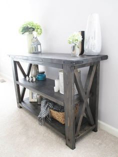 A console table from Chad and Carrie Jordan's Made in Aldie company; the couple met through Facebook.
