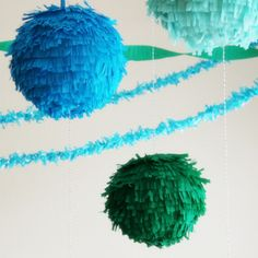 homemade fringe pinatas using paper lanterns-love it!