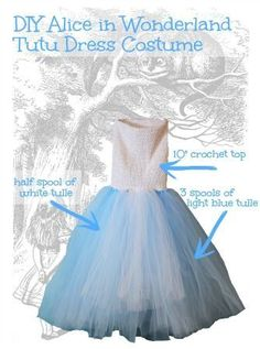 How to make an Alice in Wonderland Tutu Dress. FREE pattern at: http://www.thehairbowcompany.com/Alice-in-Wonderland-Costume_b_99.html