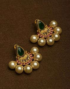 Buy YKGN's Accessories Golden Pearl Earrings online in India at best price.Add an oomph of grace to your jewellery collection with these big pearls earrings. Indian Jewelry Earrings, Jewelry Design Earrings, Gold Earrings Designs, India Jewelry, Gold Jewellery Design, Ear Jewelry, Necklace Designs, Pearl Earrings, Silver Earrings