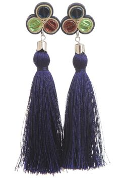 Cercei Ondine ciucuri matase bleumarin Ondine, Tassel Necklace, Tassels, Drop Earrings, Jewelry, Fashion, Moda, Jewlery, Jewerly