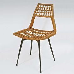 Anonymous; Rattan and Enameled Metal Chair, c1960.