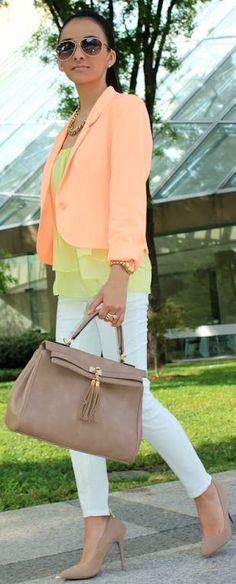 Forever 21 Bright Yellow Chiffon Ruffled Tunic, pastel orange blazer, white jeans, nude shoes  handbag