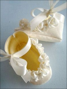 Baby Shoes With Ruffled Ribbon-cute with blessing gown
