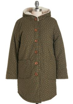 Winsome and Clover Coat. Youll love this olive-green coat from the start. #green #modcloth