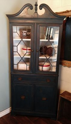 Repurposed Gems: Homestead Blue Milk Paint Corner Hutch