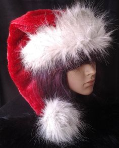0040aca901ca0 Red stocking cap style Santa hat with long